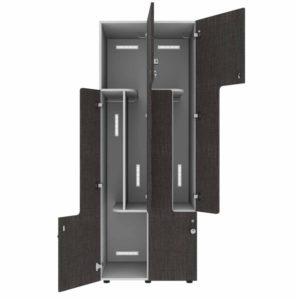 L-deurs locker 2-koloms open