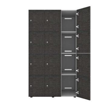 4-deurs locker 3-kolom klein hout open