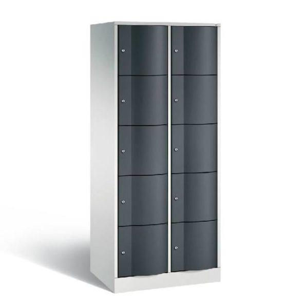 Schoollocker 5-deurs grijs zwart 2 koloms
