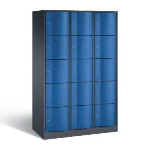 Schoollocker 5-deurs zwart blauw 3 koloms