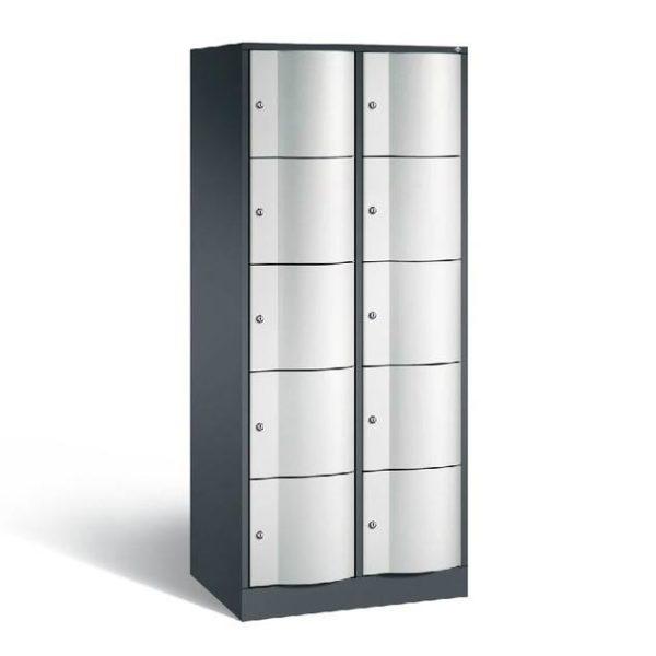 Schoollocker 5-deurs zwart grijs 2 koloms
