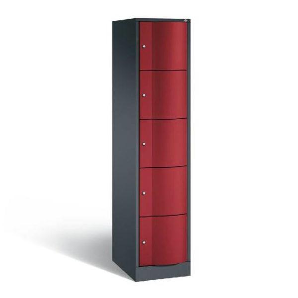 Schoollocker 5-deurs zwart rood
