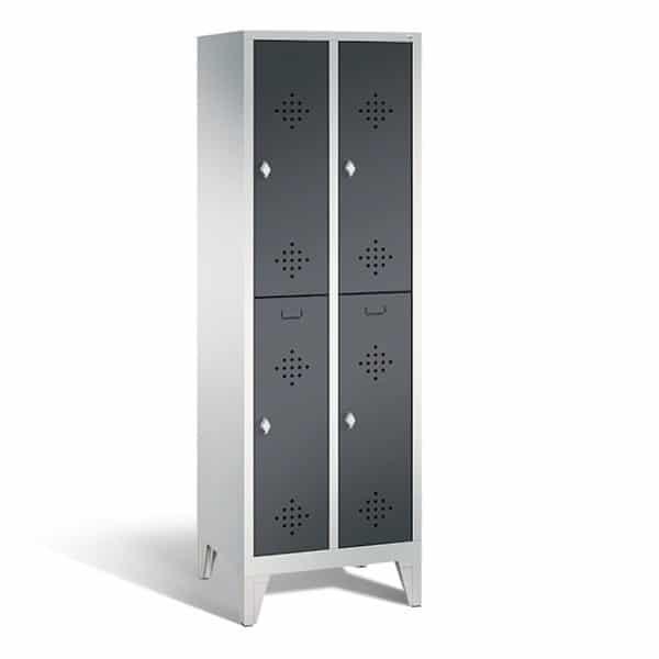 2-deurs 2-koloms pootjes wit-zwart garderobekast