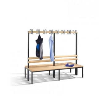 Tweezijdige garderobebank met kapstok