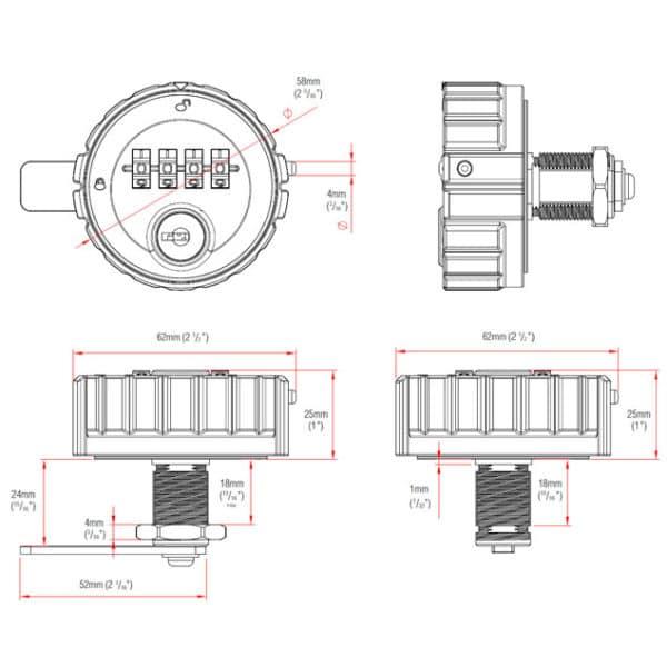 Kitlock KL10 technische tekening