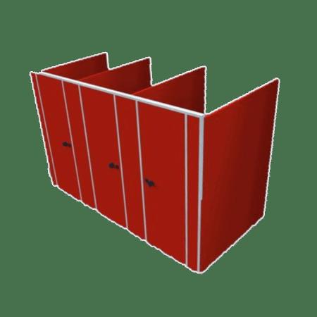 3 cabines sanitaire wanden