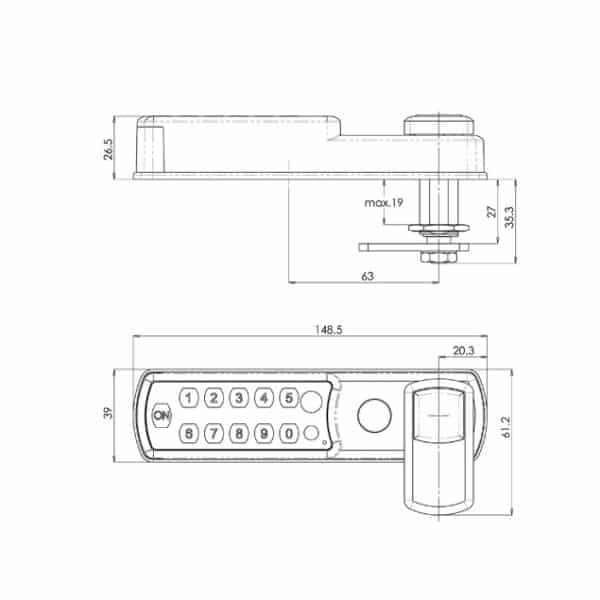 Mauer ELLcam Classic 1.0 slot horizontaal technische tekening