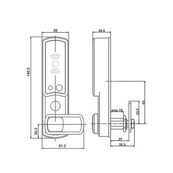 Mauer ELLcam Mifare 1.2 slot technische tekening